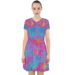 Abstract Fantastic Fractal Gradient Adorable In Chiffon Dress