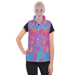 Abstract Fantastic Fractal Gradient Women s Button Up Puffer Vest