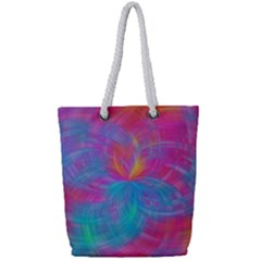 Abstract Fantastic Fractal Gradient Full Print Rope Handle Tote (small) by BangZart