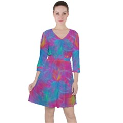 Abstract Fantastic Fractal Gradient Ruffle Dress