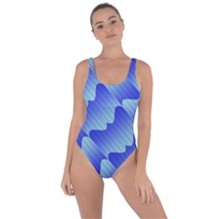 Gradient Blue Pinstripes Lines Bring Sexy Back Swimsuit