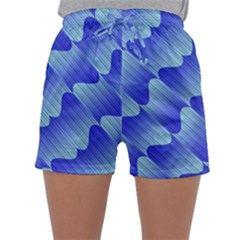 Gradient Blue Pinstripes Lines Sleepwear Shorts