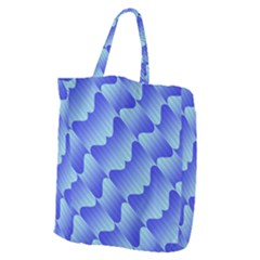 Gradient Blue Pinstripes Lines Giant Grocery Zipper Tote