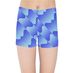 Gradient Blue Pinstripes Lines Kids Sports Shorts