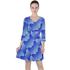 Gradient Blue Pinstripes Lines Ruffle Dress