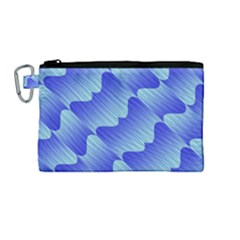 Gradient Blue Pinstripes Lines Canvas Cosmetic Bag (medium)