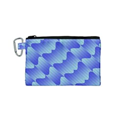 Gradient Blue Pinstripes Lines Canvas Cosmetic Bag (small)