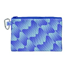 Gradient Blue Pinstripes Lines Canvas Cosmetic Bag (large)