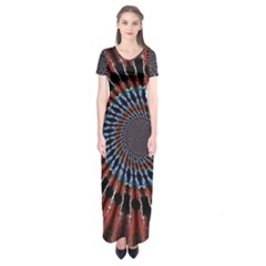 The Fourth Dimension Fractal Noise Short Sleeve Maxi Dress