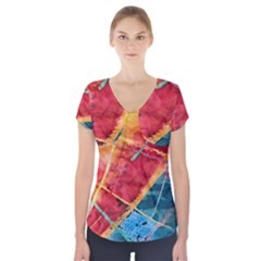 Painting Watercolor Wax Stains Red Short Sleeve Front Detail Top