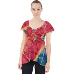 Painting Watercolor Wax Stains Red Lace Front Dolly Top