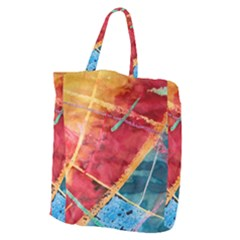Painting Watercolor Wax Stains Red Giant Grocery Zipper Tote