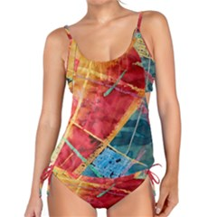 Painting Watercolor Wax Stains Red Tankini Set