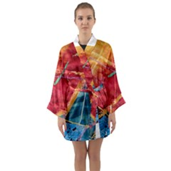 Painting Watercolor Wax Stains Red Long Sleeve Kimono Robe