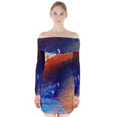 Colorful Pattern Color Course Long Sleeve Off Shoulder Dress by BangZart
