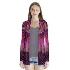 Grid Bent Vibration Ease Bend Drape Collar Cardigan by BangZart