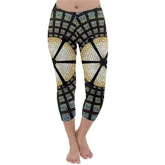 Stained Glass Colorful Glass Capri Winter Leggings