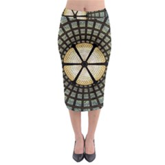 Stained Glass Colorful Glass Midi Pencil Skirt