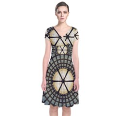 Stained Glass Colorful Glass Short Sleeve Front Wrap Dress