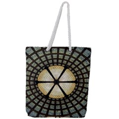 Stained Glass Colorful Glass Full Print Rope Handle Tote (large)