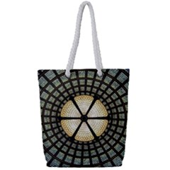 Stained Glass Colorful Glass Full Print Rope Handle Tote (small)