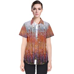 Glass Colorful Abstract Background Women s Short Sleeve Shirt