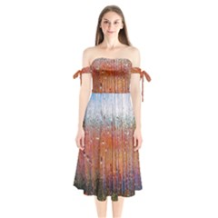 Glass Colorful Abstract Background Shoulder Tie Bardot Midi Dress