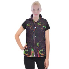 The Fourth Dimension Fractal Women s Button Up Puffer Vest