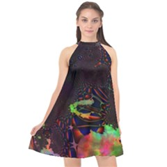 The Fourth Dimension Fractal Halter Neckline Chiffon Dress