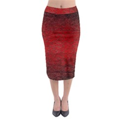 Red Grunge Texture Black Gradient Midi Pencil Skirt