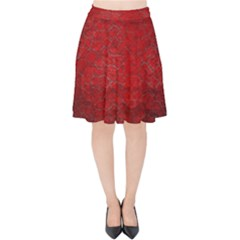 Red Grunge Texture Black Gradient Velvet High Waist Skirt