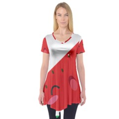 Watermelon Red Network Fruit Juicy Short Sleeve Tunic