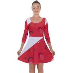 Watermelon Red Network Fruit Juicy Quarter Sleeve Skater Dress