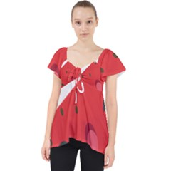 Watermelon Red Network Fruit Juicy Lace Front Dolly Top