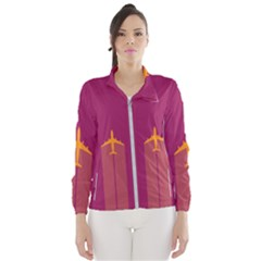 Airplane Jet Yellow Flying Wings Wind Breaker (women) by BangZart