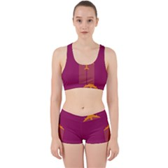 Airplane Jet Yellow Flying Wings Work It Out Sports Bra Set