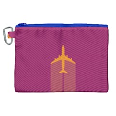 Airplane Jet Yellow Flying Wings Canvas Cosmetic Bag (xl)