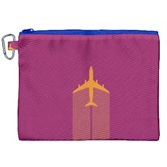 Airplane Jet Yellow Flying Wings Canvas Cosmetic Bag (xxl)