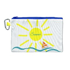 Summer Beach Holiday Holidays Sun Canvas Cosmetic Bag (large)