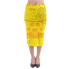 Texture Yellow Abstract Background Midi Pencil Skirt by BangZart
