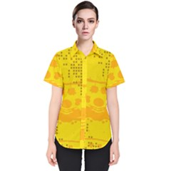 Texture Yellow Abstract Background Women s Short Sleeve Shirt by BangZart