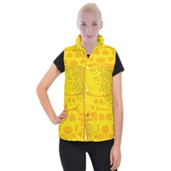Texture Yellow Abstract Background Women s Button Up Puffer Vest