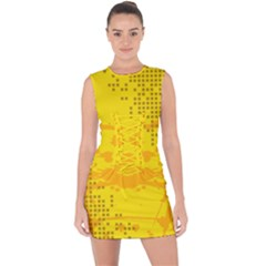 Texture Yellow Abstract Background Lace Up Front Bodycon Dress