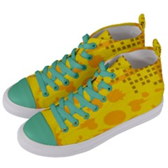 Texture Yellow Abstract Background Women s Mid Top Canvas Sneakers by BangZart