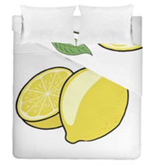 Lemon Fruit Green Yellow Citrus Duvet Cover Double Side (queen Size)