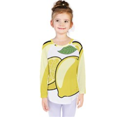 Lemon Fruit Green Yellow Citrus Kids  Long Sleeve Tee by BangZart