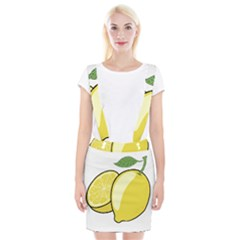 Lemon Fruit Green Yellow Citrus Braces Suspender Skirt