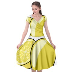 Lemon Fruit Green Yellow Citrus Cap Sleeve Wrap Front Dress