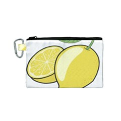 Lemon Fruit Green Yellow Citrus Canvas Cosmetic Bag (small)
