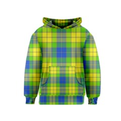 Spring Plaid Yellow Blue And Green Kids  Pullover Hoodie